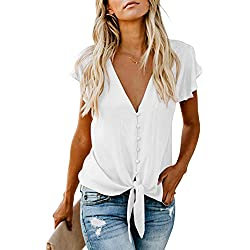 Tiksawon Blouses for Women Fashion 2019 V Neck Front Tie Sexy Summer Tops Casual Button Dowon Shirts White M