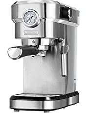 MPM MKW-08M Express koffiezetapparaat, 20 bar, voor espresso, cappuccino en latte, verstuiver voor het opschuimen van melk, kopjes, roestvrijstalen afwerking, afneembaar waterreservoir 1,2 l, 1350 W