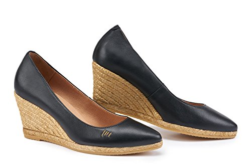 VISCATA Leather Slip 75 Wedge Made In On Spain 2 Inch Espadrilles Heel Roses Black Style Pump Elegant qgr10qx