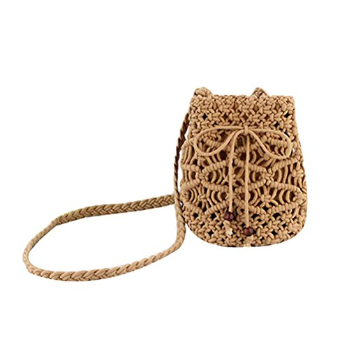 Donalworld Women Bucket Bag Drawstring Hobo Crochet Straw Shoulder Bag S Bron