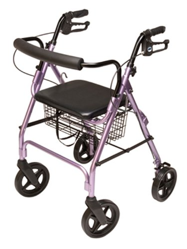 Lumex Walkabout Four-Wheel Contour Deluxe Rollator with Eight-Inch Wheels, Lavender RJ4805L