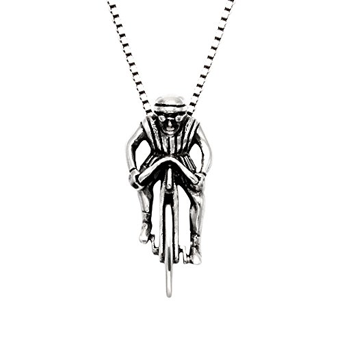 Wild Things Sterling Silver Bicycle Racer Pendant w/20 Box Chain
