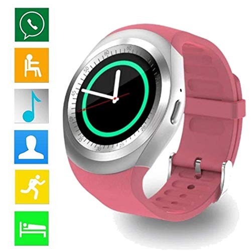 Loveje Smartwatch Touchscreen with Camera Waterproof Dustproof Round Fashion Business Sport, Bluetooth Watch Phone with SIM Card Slot Watch Cell Phone Compatible Android iOS Men Women Youth (Pink)