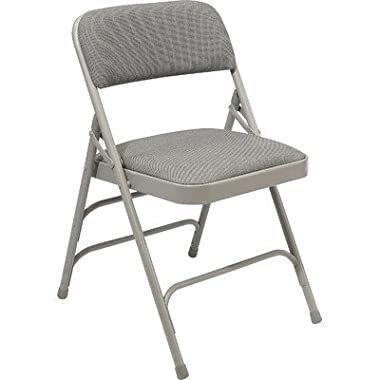 National Public Seating 2302 Steel Frame Upholstered Premium Fabric Seat and Back Folding Chair with Triple Brace, 480 lbs Capacity, Graystone/Gray (Carton of 4)