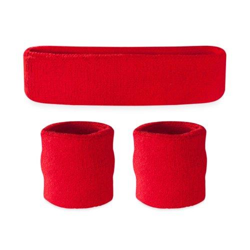 Suddora Kids Sweatband Set (1 Headband / 2 Wristbands) (Red)