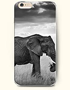 OOFIT New Apple iPhone 6 ( 4.7 Inches) Hard Case Cover - An Elephant Eating Grass Alone