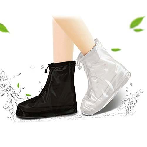 Aubreyobbins Waterproof Bike Motorcycle Shoe Covers Reusable Rain Snow Overshoes Travel for Women Men Kids (Black, L)