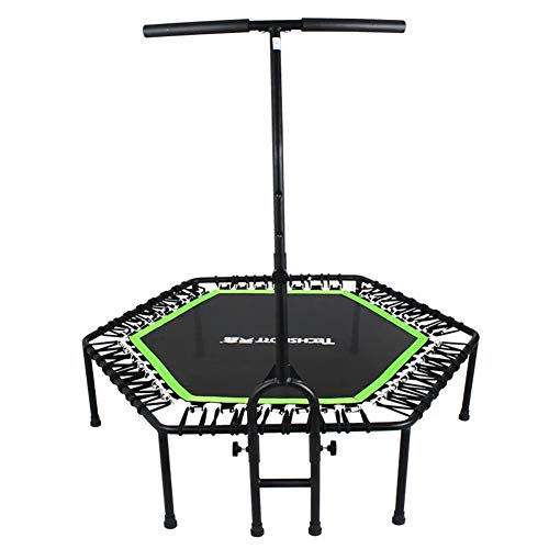 YXTHON Fitness Trampoline Cardio Trainer Exercise Rebounder with Adjustable Handle Bar Fitness Trampoline - Full-Size Protective Mat - Minimal Joint Impact - High-Calorie Burn - Improve Cardio, Balanc