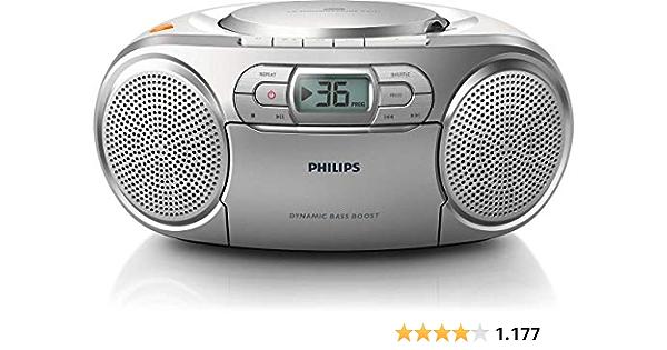 Philips AZ127/12 Reproductor de CD Portátil, Radio CD (Radio FM, Pletina de Casete, Refuerzo Dinámico de Graves, Entrada de Audio) Negro