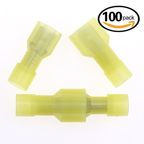 Hilitchi 100pcs 12-10 Gauge Nylon Fully Insulated-Male Spade Terminals and Quick Splice Electrical Wire Connector Kit