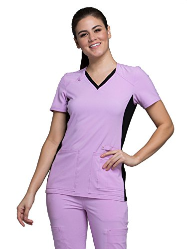 Cherokee Iflex by Women's V-Neck Knit Panel Solid Scrub Top Large Lilac Love with Black (Contrast Trim V-neck Scrub Top)