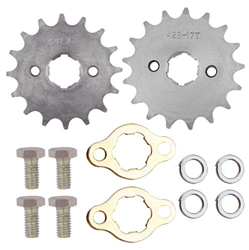 Tooth Motor Sprocket (Sdootauto Front Engine Chain Sprocket, Front Counter Sprocket, 428 16 and 17 Tooth 20 mm for Motorcycle ATV Dirtbike (2 Size))