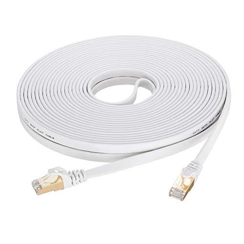Cat 7 Ethernet Cable 15 ft White, SNANSHI Cat7 Flat Ethernet Patch Cables - Internet Cable Shielded RJ45 Connectors Compatible with Switch/Router/Modem/Patch Panel