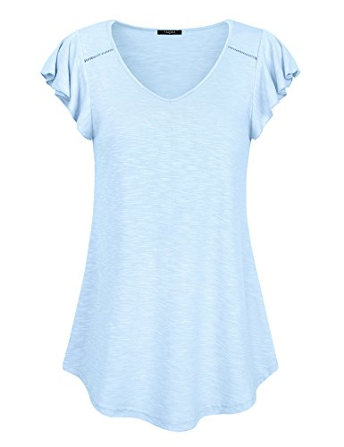 ck T Shirts, Short Sleeve Casual Blouse Tees Flutter Cap Sleeve A Line Loose Fit Flowy Tunic Tops (Aqua Blue,Large) (Flutter Cap Sleeve Tunic Top)