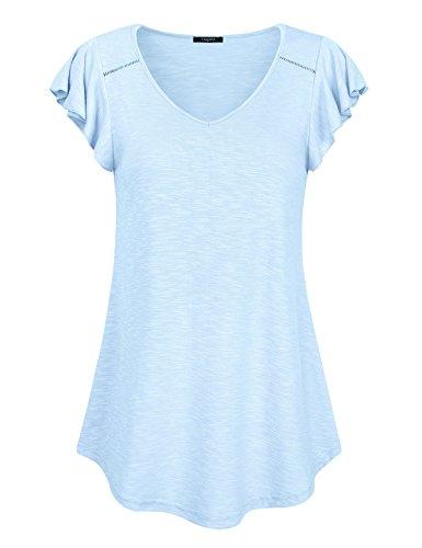 V Neck T Shirts Women, Ladies Casual Tunic Tops Ruffle Sleeve Pleated Curved Hem Comfy Summer Solid Blouse Tees (Aqua Blue,Medium) (Solid Womens Cap Sleeve T-shirt)