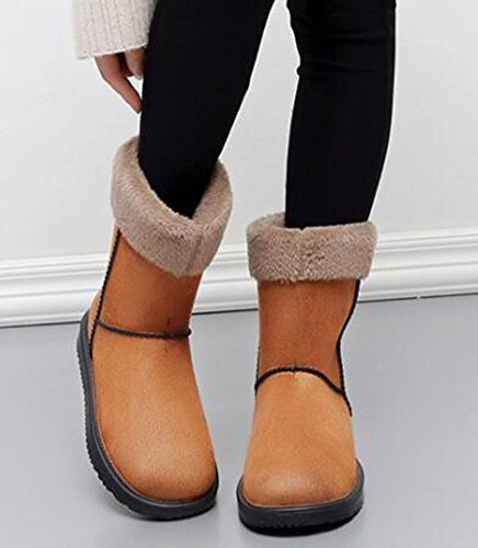 Lined Pull Fleece Womens Booties Boots Warm Khaki Faux Flat On IDIFU Mid Winter Snow Suede Calf q8tHqw
