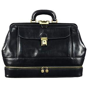 Leather Doctor Bag Purse Medical Briefcase Vintage Black Key Lock Handbag – Time Resistance