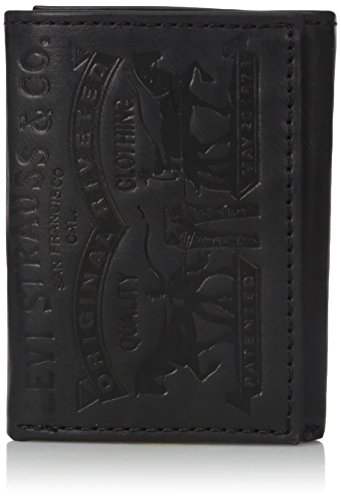 Levi's Men's Trifold Wallet,Black Leather 2 Horse