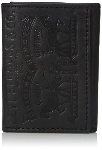 Levi's Men's Trifold Wallet,Black Leather 2 Horse