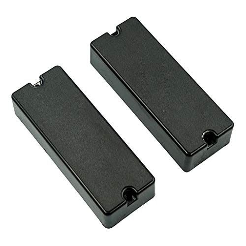 Almencla 2Pcs Open 5 String Bass Pickups Wired Soap Bar Style Replacement Musical Instrument Accessory Black 5 Strings Soap Bar
