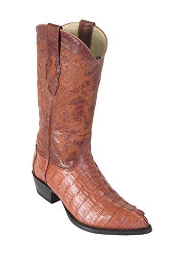 LOS ALTOS BOOTS Mens Caiman Tail J Toe Western Boots Cognac 10.5 EE
