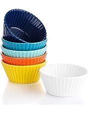 Sweese 522.001 Porcelain 6 Oz Cupcake Muffin Baking Cups, Non-Stick Ramekins, Reusable Cake Molds, Set Of 6