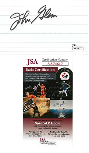 John Glenn Signed Authentic Autographed 3x5 Cream Index Card JSA #AA74617