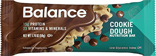 Balance Bar Cookie Dough Nutrition Bars Cookie Dough Protein Nutrition Bar 15g Protein Plus Vitamins and Minerals 6-1.76oz. Bars