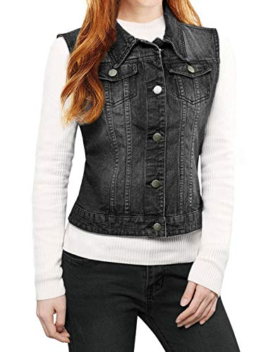 Allegra K Women's Buttoned Washed Denim Vest Jacket w Chest Flap Pockets Black M (US 10)