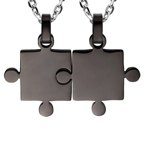 """Urban Jewelry His & Hers Puzzle Matching Piece Couples Pendant Necklace Set with 19"""" & 21"""
