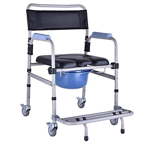 高齢者モバイルトイレ椅子トイレ椅子アルミ製バスチェア補強妊婦トイレベルトホイール B07CK73Z25