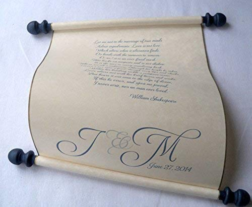 - Custom printed scroll for wedding vows, anniversary letter or secret message, 8x17