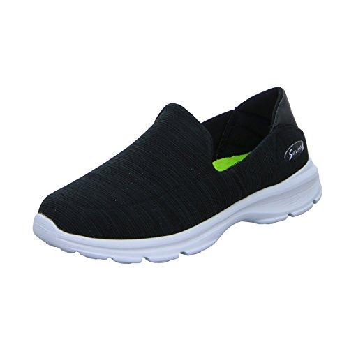 Sneakers 2602-B Damen Slipper Halbschuh Schwarz (Schwarz)