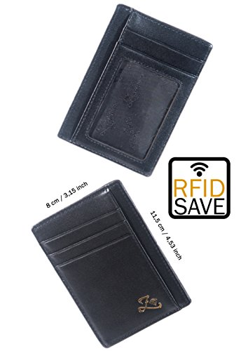 Black Leather Wrapped Snap (Luxury black leather credit card holder – men RFID wallet – excellent soft calfskin nappa – genuine leather – ID window)