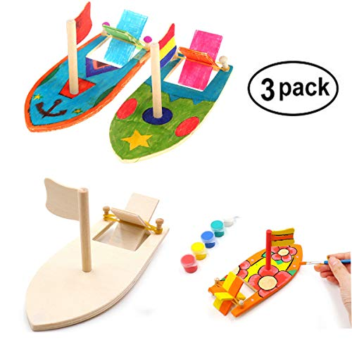 3 Pack DIY Wood Sailboat Rubber Band Paddle Boat, Make Your Own Wood Sailboat Craft Kits for Kids to Paint and Decorate -