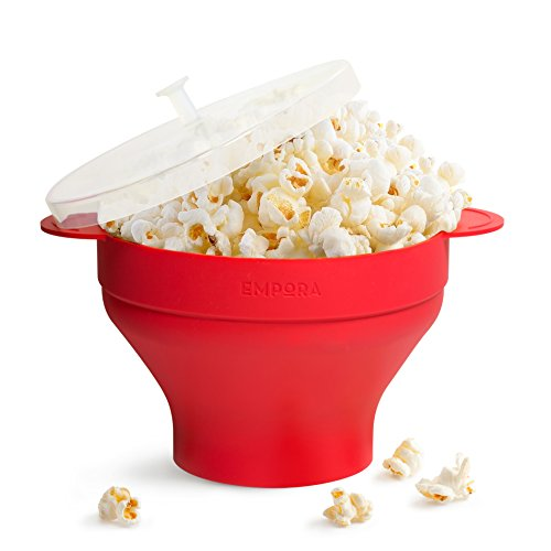 Silicone Microwave Popcorn Maker Popper - Holds Up to 10 Cups of Popcorn - BPA & PVC Free - Easy to Wash With Space Saving Collapsible Design - Healthy Popcorn Machine for Kids or Adults (Best Over The Range Convection Microwave 2017)