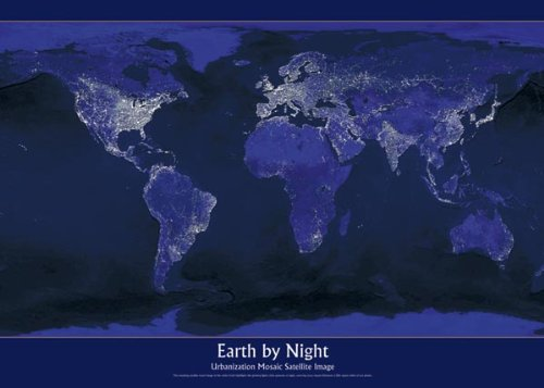 Amazoncom Earth By Night Photography Poster Print By - Earth at night map