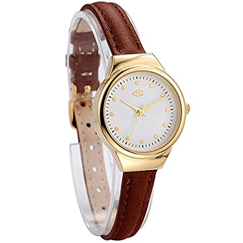 GEORGE SMITH Lady's 22 mm Small Unique Golden White Dial Wristwatch with Slim Brown Genuine Leather (Water Proof Watches Ladies)