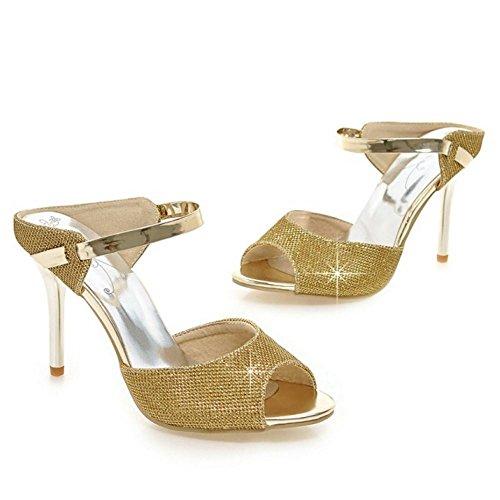 Zanpa Zapatos Mujer Tacon Fiesta Oro