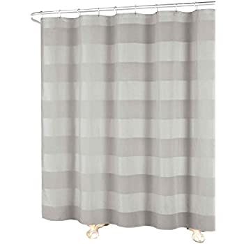 CARO Home Fabric Shower Curtain Wide Light Gray White And Metallic Silver Grey Stripes On Sale