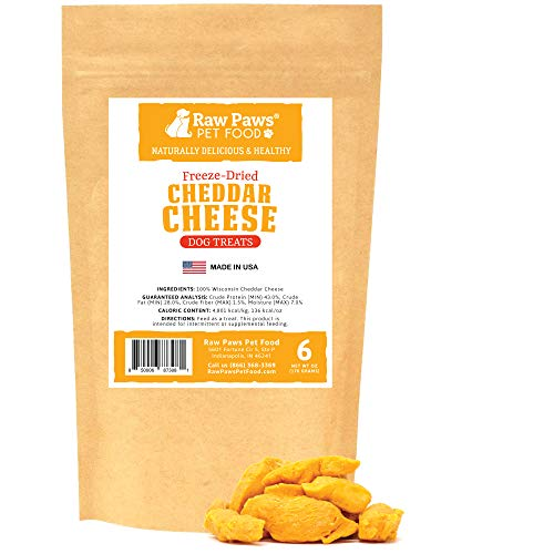 Raw Paws Wisconsin Freeze Dried Cheese Dog Treats, 6-oz - Crunchy Dog Cheese Puffs Made in USA - Natural, USDA Certified, Human Grade Dried Cheese for Dogs - 100% Real Cheddar Cheese Bites for Dogs