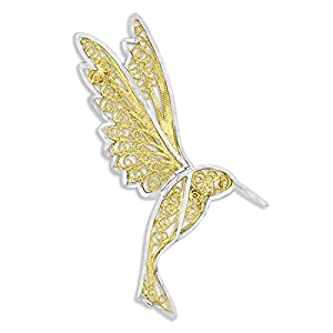 14k Two Tone Gold Diamond Cut Hummingbird Broach Pin