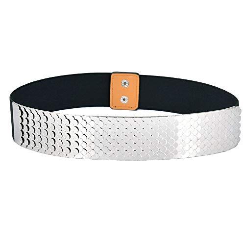 - Talleffort Fashion Women's Center-Scaled Texturized Metallic Stretch Belt Wide Elastic Waist Belt S-L