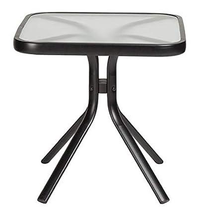 Amazon.com: Exterior Acero Taupe mesa auxiliar pequeña plaza ...