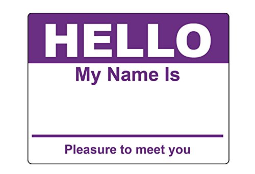 Purple Hello My Name Is Name Badge Tag Labels Stickers - 1 Roll