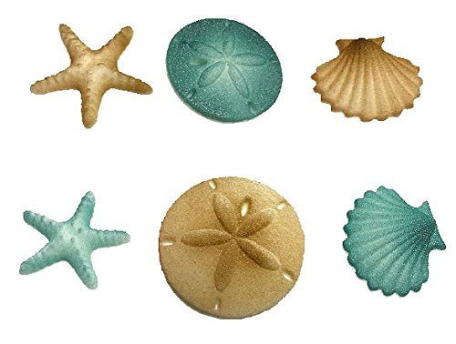 12pk Beach Comber Side Sand Water Sea Creatures Sea Shells Star Fish (Teal) Ready To Use Edible Cake / Cupcake Sugar Decoration Toppers