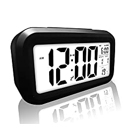 Digital Alarm Clock, eBoTrade LCD Morning Clock with Calendar Thermometer Large Display Smart Nightlight Soft Light Snooze Sleep Backlight Black