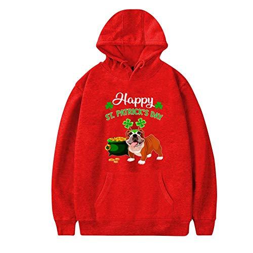 Mens Plus Velvet Hoodie,Funny Happy St Patrick_s Day for Bulldog Stylish Printed Classic Pocket Sweatshirt 3XL -
