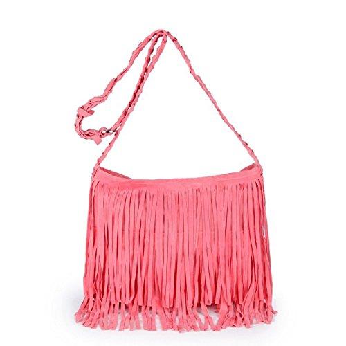 Telefono Donne Bag Portafoglio Per Le Rosa Del Scamosciata Mobile Della Borsa Pelle Crossbody Frange In ZzSdUq
