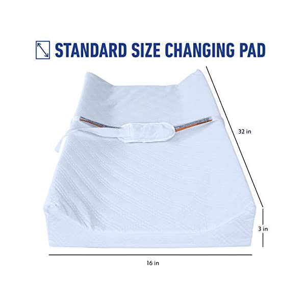 Graco Premium Contoured Infant and Baby Changing Pad - Ultra Soft Buckle Cover for Premium Comfort, Water Resistant, Baby Safety Belt, Non-Skid Bottom, Fits Standard Size Changing Topper 2